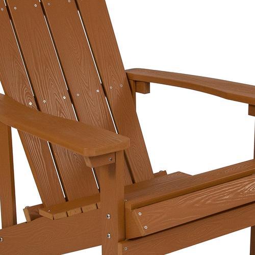 Flash Furniture - Charlestown All-Weather Poly Resin Wood Adirondack Chair in Teak