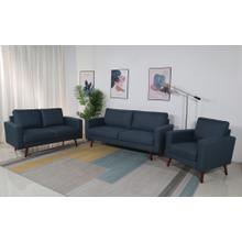 8125 3PC NAVY Linen Stationary Basic Living Room SET