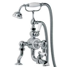 Exposed thermostatic bath and shower valve with cradle and Classic handset Deck mounted