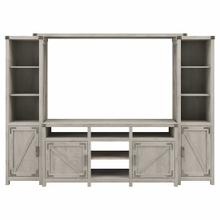 See Details - 65W Farmhouse TV Stand with Shelves Entertainment Center, Cottage White