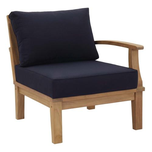 Marina Outdoor Patio Teak Right-Facing Sofa in Natural Navy