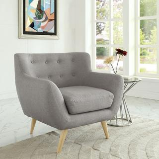 Remark Upholstered Fabric Armchair in Light Gray