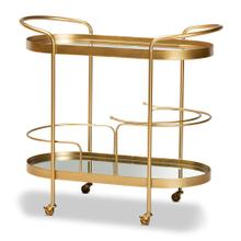 See Details - Baxton Studio Kamal Modern and Contemporary Glam Brushed Gold Finished Metal and Mirrored Glass 2-Tier Mobile Wine Bar Cart