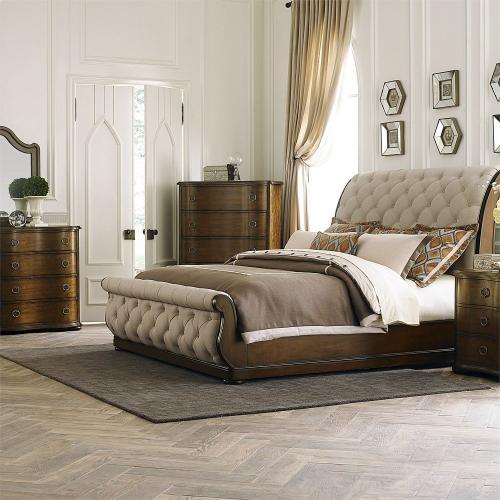 King California Sleigh Bed, Dresser & Mirror, Chest, Night Stand