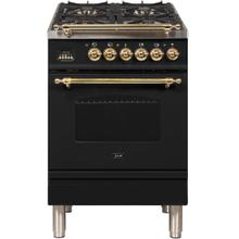 See Details - Nostalgie 24 Inch Dual Fuel Natural Gas Freestanding Range in Glossy Black with Brass Trim