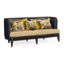See Details - Curved Dark Brown Ash Sofa, Upholstered in COM
