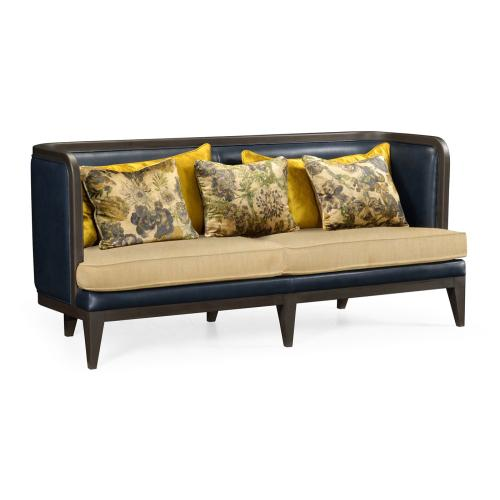 Curved Dark Brown Ash Sofa, Upholstered in COM