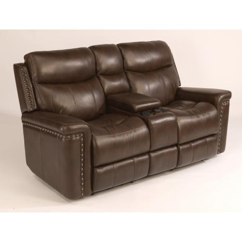 Product Image - Grover Leather Power Reclining Loveseat with Console