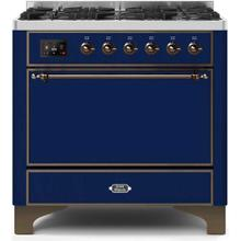 Majestic II 36 Inch Dual Fuel Liquid Propane Freestanding Range in Blue with Bronze Trim
