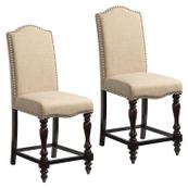 McGregor 2-Pack Beige Upholstered Counter Height Chair