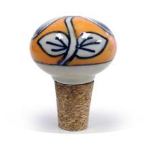 Epicureanist Orange and White Floral Ceramic Bottle Stopper