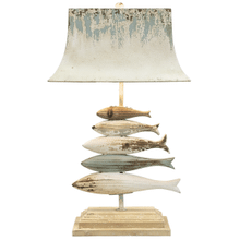 Distressed Blue & Ivory Carved Fish Table Lamp with Bulb. 60W Max. (168067) (2 pc. assortment)