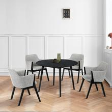 """See Details - Arcadia and Renzo 42"""" Round Grey and Black Wood 5 Piece Dining Set"""