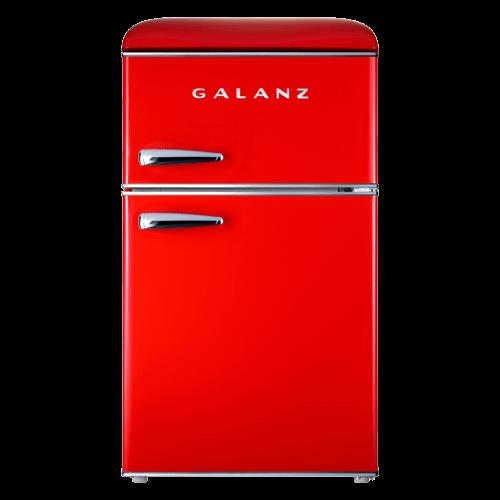 Galanz 3.1 Cu Ft Retro Dual Door Refrigerator in Hot Rod Red
