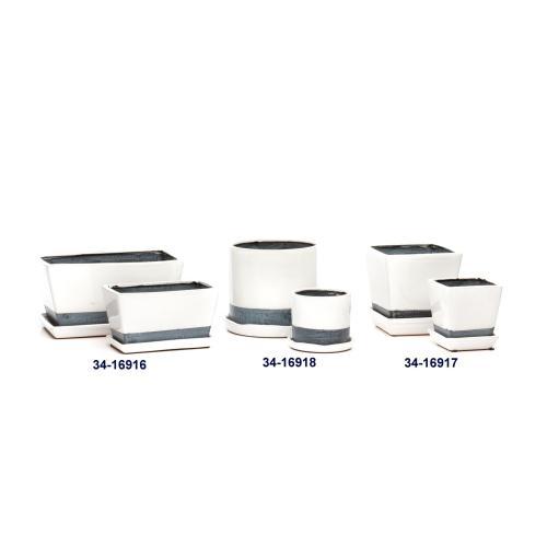 Super White Petits Pots w/ attached saucer, Rect. - Set of 2 (Min 4 sets)