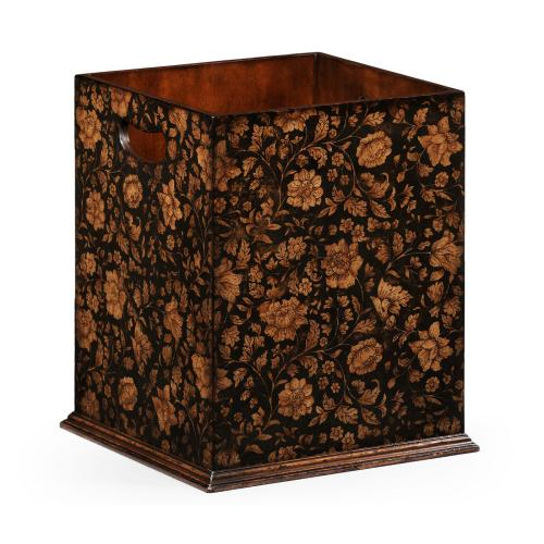 Square Black Chinoiserie Waste Basket