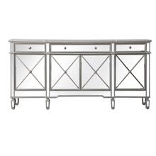 72 inch mirrored credenza in silver