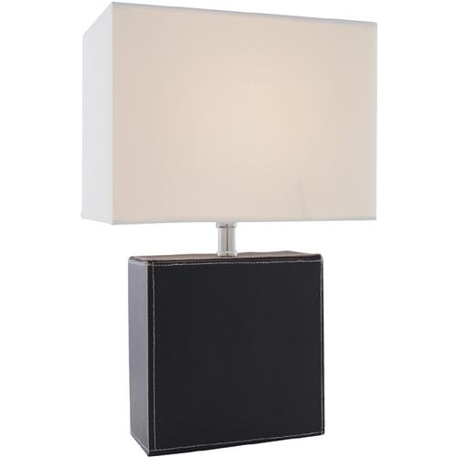 Table Lamp, Black Leather/off-white Fabric Shd, E27 Cfl 13w