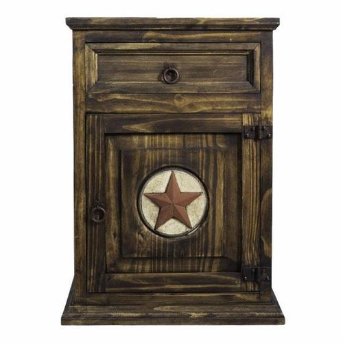 L.M.T. Rustic and Western Imports - Right Medio Nightstand W/Stone Star BURO13RS