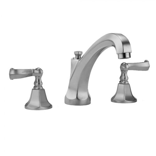 Jaclo - Satin Nickel - Astor High Profile Faucet with Ribbon Lever Handles & Fully Polished & Plated Pop-Up Drain