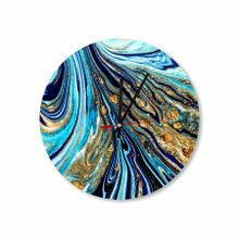 Royal Blue-gold Abstract Paint Round Acrylic Wall Clock