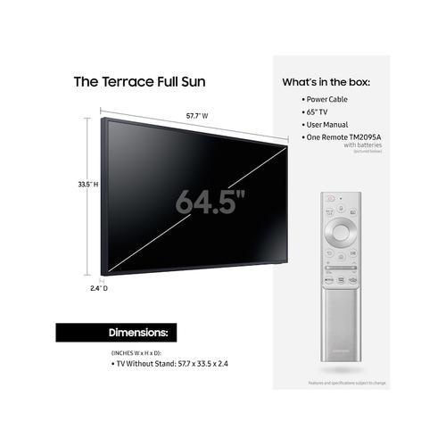 """Samsung - 65"""" Class The Terrace Full Sun Outdoor QLED 4K Smart TV"""