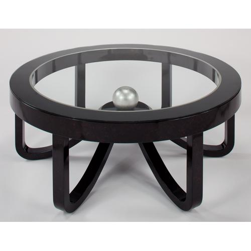 """Coffee Table with Glass Dia. 44x18.5"""""""