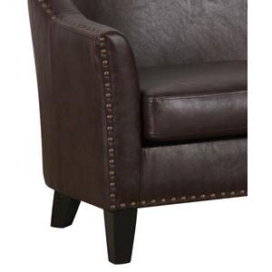 Nailhead Trim Faux Leather Couch in Dark Chocolate Brown