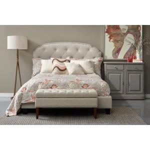 Tufted Upholstered Traditional King Bed in Linen Beige