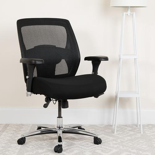 Gallery - HERCULES Series 24\/7 Intensive Use Big & Tall 500 lb. Rated Black Mesh Executive Ergonomic Office Chair with Ratchet Back