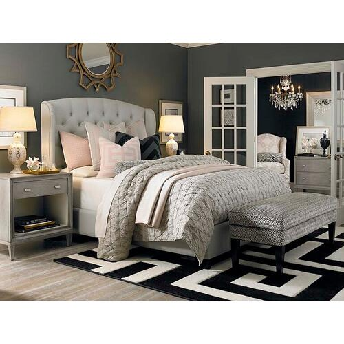 Custom Uph Beds Florence Twin Clipped Corner Bed, Storage 1 Drawer, Insert Type Tufted