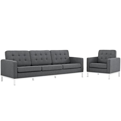 Modway - Loft 2 Piece Upholstered Fabric Sofa and Armchair Set in Gray