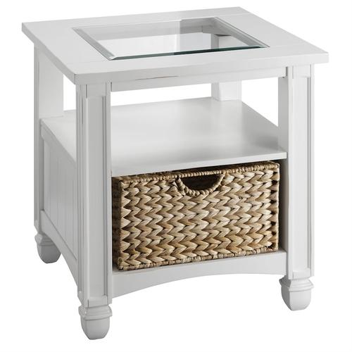 Nantucket End Table In White With Basket