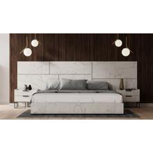 Nova Domus Marbella - Italian Modern White Marble Bed w/ 2 Nightstands