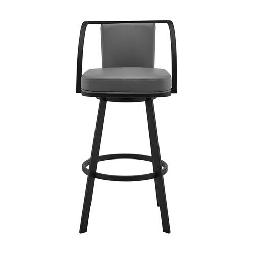 """Livingston 30"""" Gray Faux Leather and Black Metal Swivel Bar Stool"""