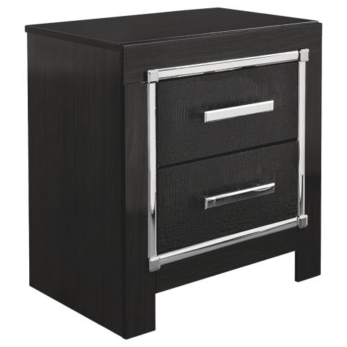 King/california King Upholstered Panel Headboard With Mirrored Dresser and 2 Nightstands