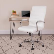 View Product - High Back White LeatherSoft Executive Swivel Office Chair with Chrome Frame and Arms