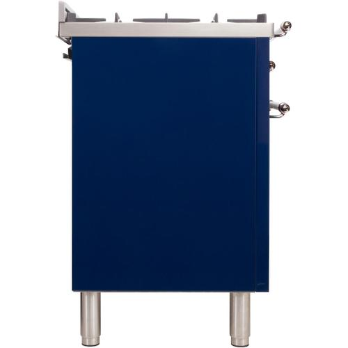 Nostalgie 24 Inch Dual Fuel Natural Gas Freestanding Range in Blue with Chrome Trim