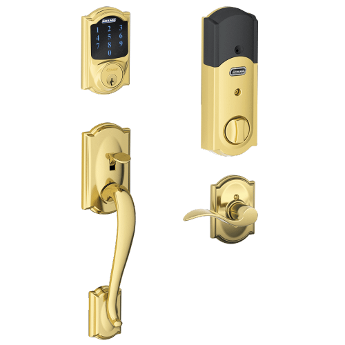 Schlage - Camelot Style Schlage Connect™ and Handleset with Accent Lever - Bright Brass
