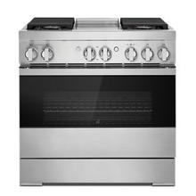 """See Details - NOIR 36"""" Dual-Fuel Professional-Style Range with Chrome-Infused Griddle and Steam Assist"""