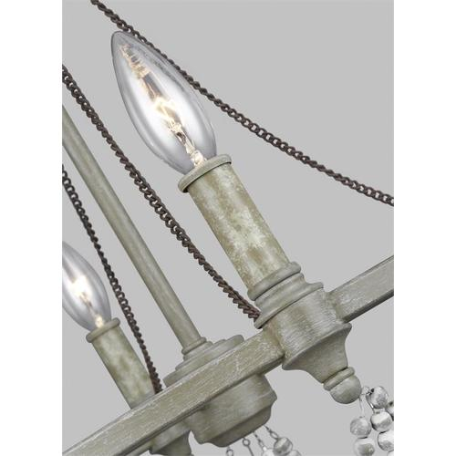 Beverly Small Chandelier French Washed Oak / Distressed White Wood
