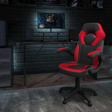 Black Gaming Desk and Red\/Black Racing Chair Set with Cup Holder, Headphone Hook, and Monitor\/Smartphone Stand [BLN-X10RSG1031-PK-GG]