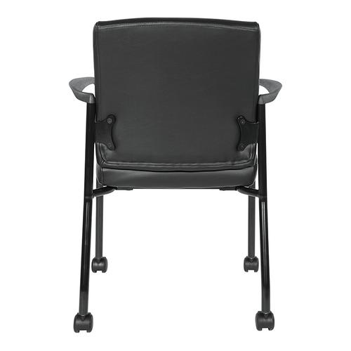 Guest Chair With Casters In Black Faux Leather and Black Frame