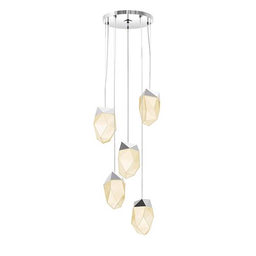 Facets™ 5-Light Round Medium LED Pendant