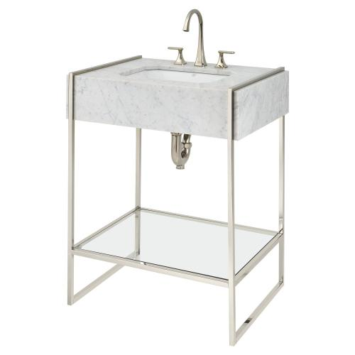 Belshire Console Frame With Glass Shelf - Platinum Nickel