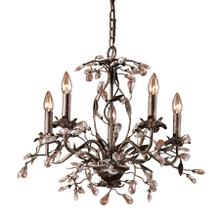 See Details - Circeo 5-Light Chandelier in Deep Rust with Crystal