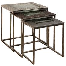 POLISHED NICKEL GUN METAL & BRONZE  21ht X 20w X 16d  Nested Set of 3 Tables with Cast Aluminum Tr