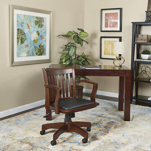 Office Star - Deluxe Wood Banker's Chair With Vinyl Padded Seat In Espresso Finish