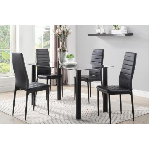 Homelegance - Black Glass Dining Table ONLY with Metal Legs