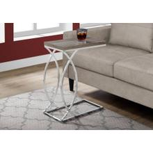 ACCENT TABLE - DARK TAUPE WITH CHROME METAL